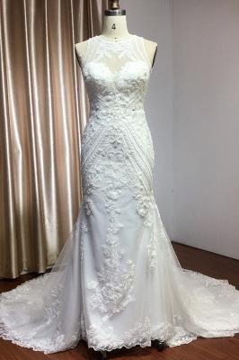 Elegant Jewel Sleeveless Tulle Lace Mermaid Wedding Dresses Long_1