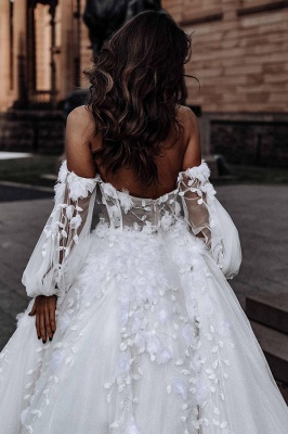 Floral Floor-length Sweetheart Tulle Beading Wedding Dresses With Long Sleeves_6