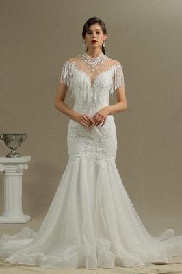 Shining Sleeveless Bronzing Mermaid Wedding Dresses With Tassel_3