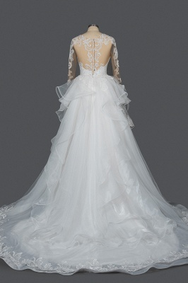 Long Sleeves Lace Ruffles Fairy Wedding Dresses Floor-length_2
