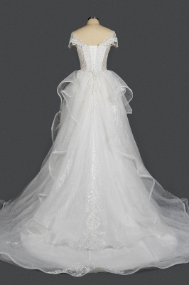 A-Line White Tulle Ruffles Beading Lace Wedding Dresses With Short Sleeves_2