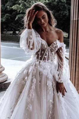 Floral Floor-length Sweetheart Tulle Beading Wedding Dresses With Long Sleeves_2