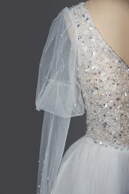Glamorous V Neck Tulle Lace Beading Wedding Dresses With Long Sleeves_6