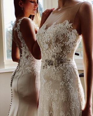 Elegant White Sleeveless Wedding Dresses With Lace Appliques_3