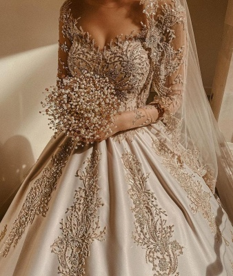 Elegant Long Sleeves Champagne Lace Wedding Dresses Long_4