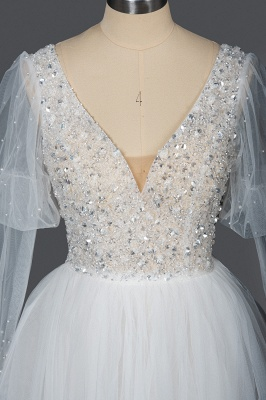 Glamorous V Neck Tulle Lace Beading Wedding Dresses With Long Sleeves_7