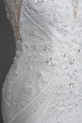 Elegant Jewel Sleeveless Tulle Lace Mermaid Wedding Dresses Long_9