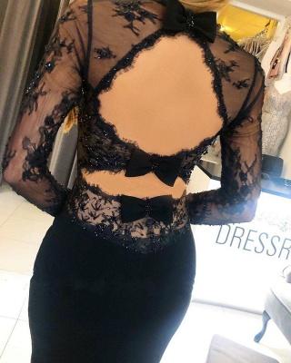 Elegant Square Black Lace Prom Dresses Mermaid_4