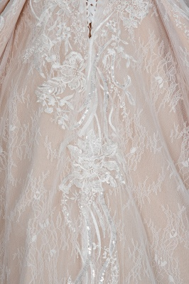 Gorgeous Long Sleeves Tulle Beading Wedding Dresses With Lace Appliques_4