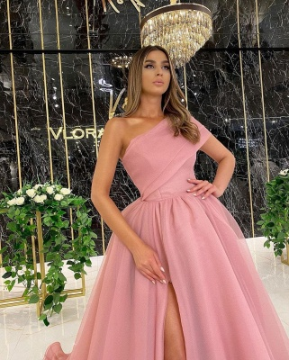 One Shoulder Tulle Dusty Pink Ruffles Prom Dresses Floor-length_2