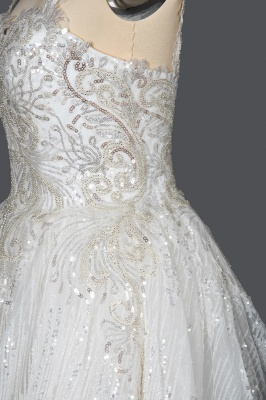 Elegant Sleeveless Tulle Lace Wedding Dresses With Sequins Long_8