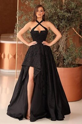 Luxury Halter Black Satin Split Evening Gowns With Sleeveless_1