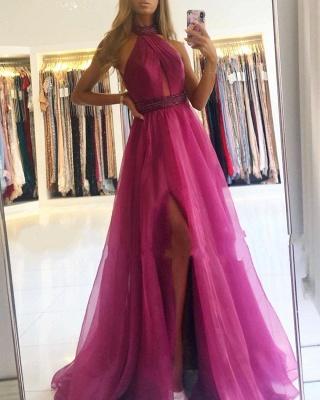 Gorgeous Halter Fuchsia Split Prom Dresses Long_2