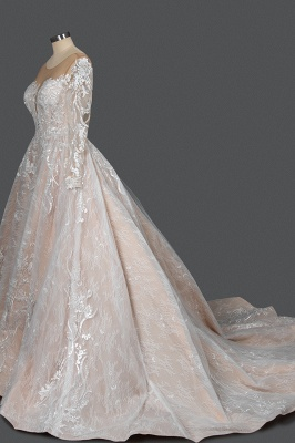 Gorgeous Long Sleeves Tulle Beading Wedding Dresses With Lace Appliques_3