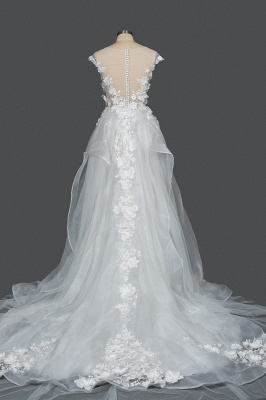 Gorgeous Tulle Sleeveless Beading Wedding Dresses With Lace Appliques_2