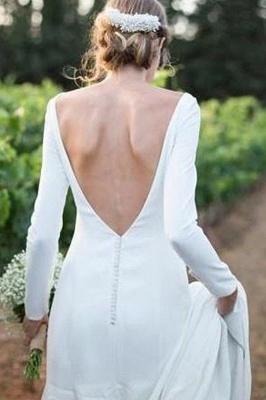 Simple Bateau Long Sleeves White Wedding Dress_2