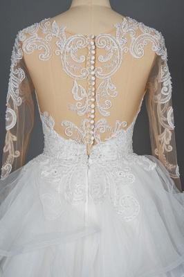 Long Sleeves Lace Ruffles Fairy Wedding Dresses Floor-length_3