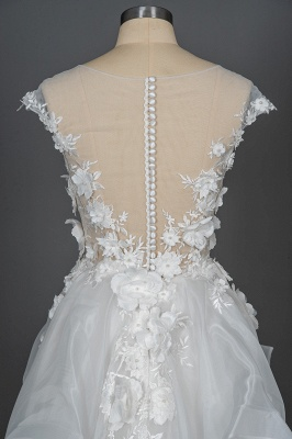 Gorgeous Tulle Sleeveless Beading Wedding Dresses With Lace Appliques_6