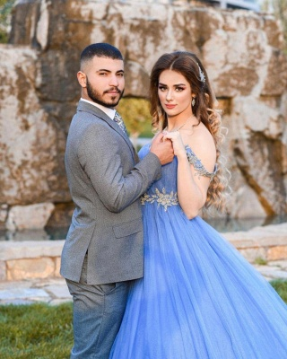 Gorgeous Off The Shoulder Sleeveless Tulle Light Blue Prom Dresses_4