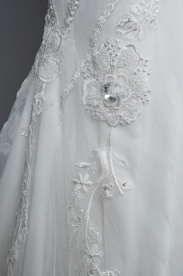 Elegant Jewel Sleeveless Tulle Lace Mermaid Wedding Dresses Long_6