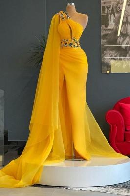 Luxury One Shoulder Yellow Tulle Ruffles Mermaid Prom Dresses_1