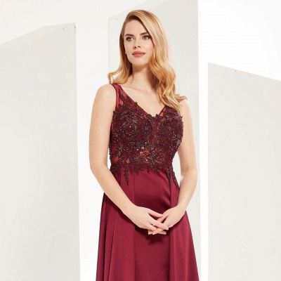 Gorgeous V Neck Burgundy Red Prom Dresses With Lace Appliques_2