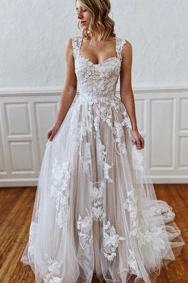 A Line Sweetheart Straps 3D Floral Lace Wedding Dress_1