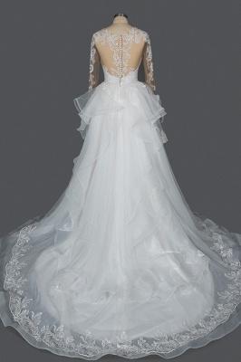 Long Sleeves Lace Ruffles Fairy Wedding Dresses Floor-length_15