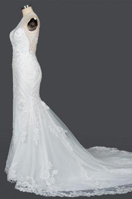 Elegant Jewel Sleeveless Tulle Lace Mermaid Wedding Dresses Long_8