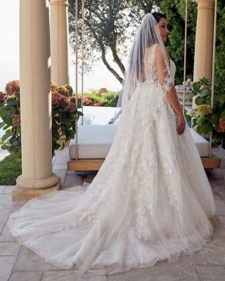 Glamorous Sleeveless V Neck Tulle Lace Wedding Dresses A-Line_2