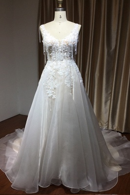 Glamorous Chapel Train Sleeveless Organza Wedding Dresses With Appliques_2