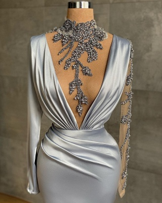 Luxury High Neck Silver Ruffles Mermaid Prom Dresses With Long Sleeves_2