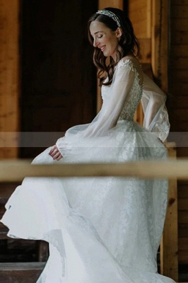 A-Line Lace Long Sleeves White Wedding Dresses Chapel Train_2