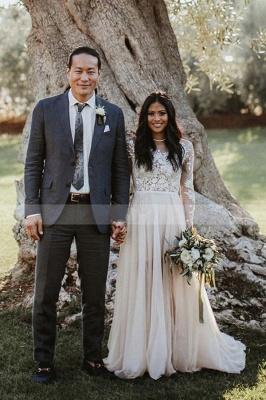 Floor Length Long Sleeves Wedding Dress Chiffon Bridal Gown_2