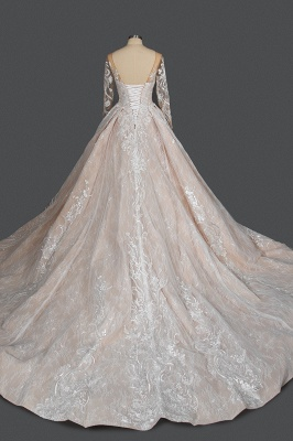 Gorgeous Long Sleeves Tulle Beading Wedding Dresses With Lace Appliques_2