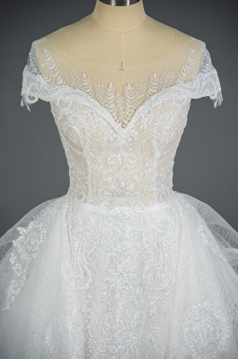 A-Line White Tulle Ruffles Beading Lace Wedding Dresses With Short Sleeves_8