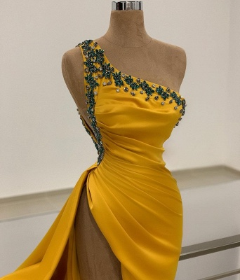 Sexy One Shoulder Mustard Beading Mermaid Prom Dresses Split_2