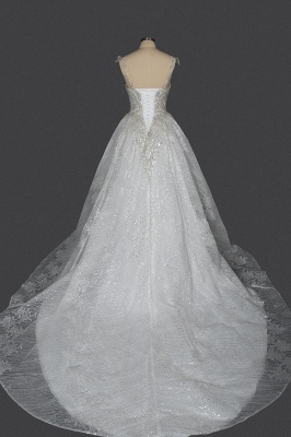 Elegant Sleeveless Tulle Lace Wedding Dresses With Sequins Long_2