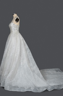 Elegant Sleeveless Tulle Lace Wedding Dresses With Sequins Long_3