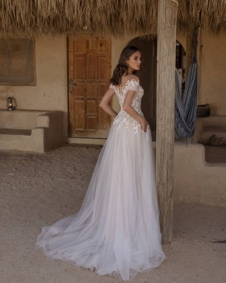 Beautiful Off The Shoulder White Lace Wedding Dresses Long_2