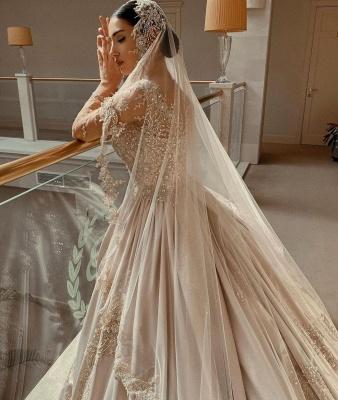 Elegant Long Sleeves Champagne Lace Wedding Dresses Long_3