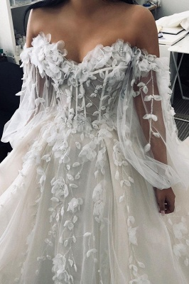 Floral Floor-length Sweetheart Tulle Beading Wedding Dresses With Long Sleeves_4