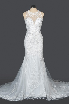Elegant Jewel Sleeveless Tulle Lace Mermaid Wedding Dresses Long_12