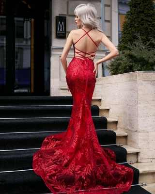 Sexy Spaghetti Straps Ruby Mermaid Prom Dresses With Lace_2