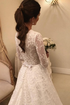 Graceful Jewel Long Sleeves Lace Wedding Dresses With Bow_3