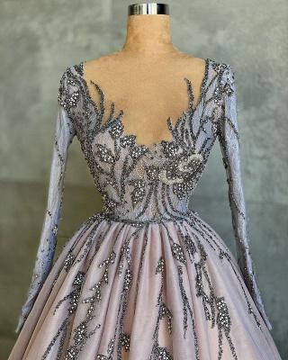 Luxury Long Sleeves Tulle Ruffles Nude Pink Prom Dresses_3