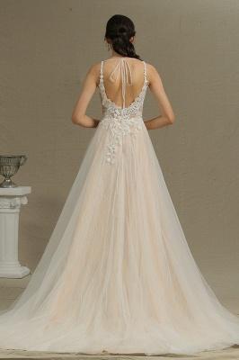 Glamorous V Neck Tulle Lace appliques Wedding Dresses Floor-length_3