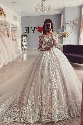 Aline Long Sleeves Ball Gown Lace Tulle Bridal Gown Floral_1