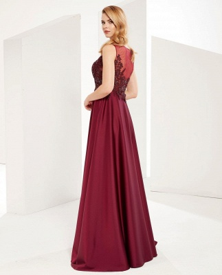 Gorgeous V Neck Burgundy Red Prom Dresses With Lace Appliques_3