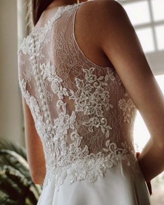Elegant White Sleeveless Wedding Dresses With Lace Appliques_6